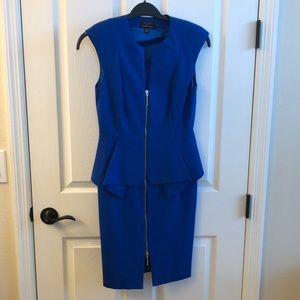 Ted Baker blue peplum zip up dress